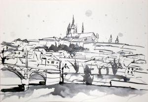 Prag - (c) Zeichnung von Frank Hess - Tusche auf Zeichenkarton - DIN A4